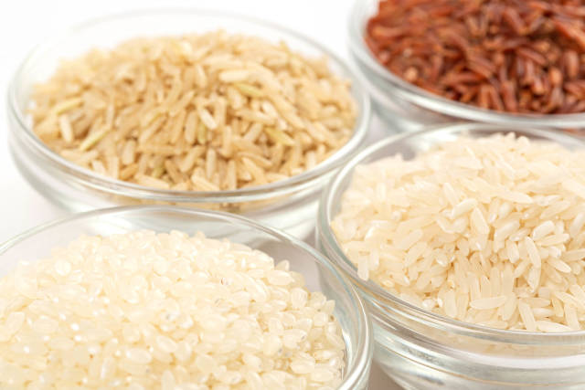 Long rice, round rice, unpolished and brown rice varieties