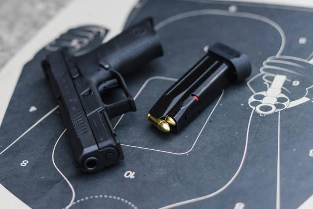 Close Up on Gun and Target