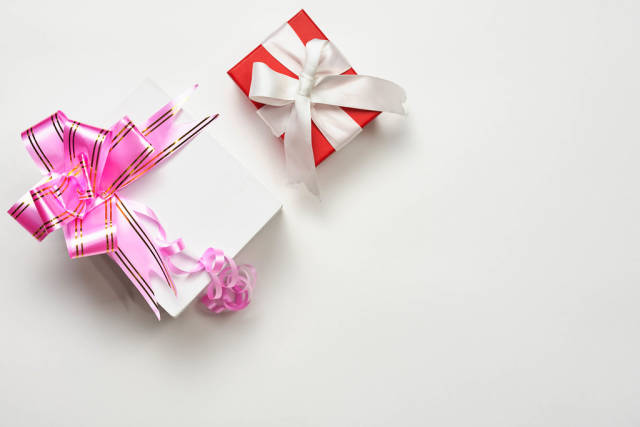 X-mas gifts on white