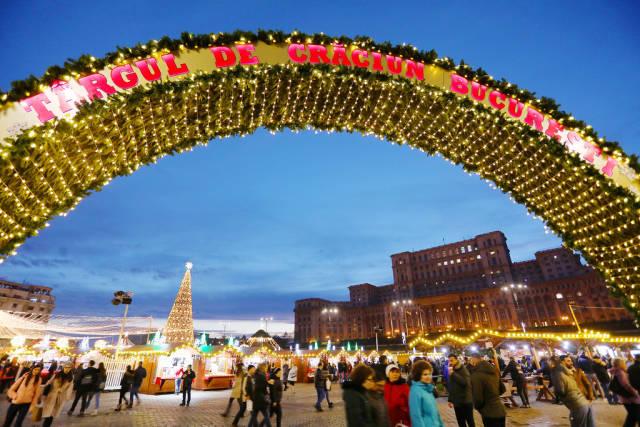 Bucharest Christmas market, entrance, night view