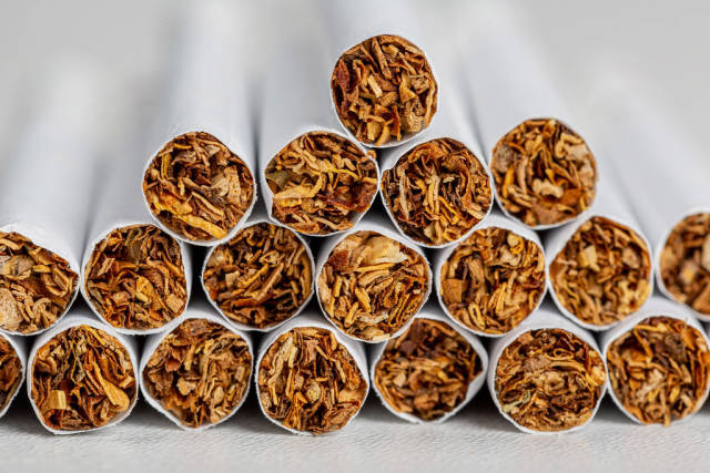 Close-up of tobacco cigarettes background