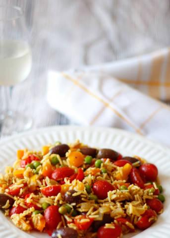 Reis mit Tomaten und Bohnen