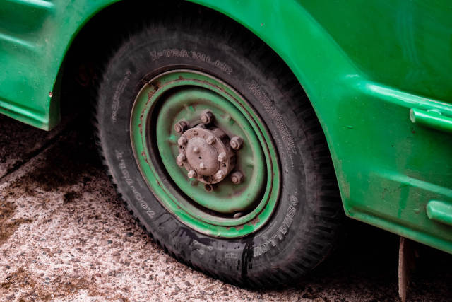 Close up of a jeepneys tire