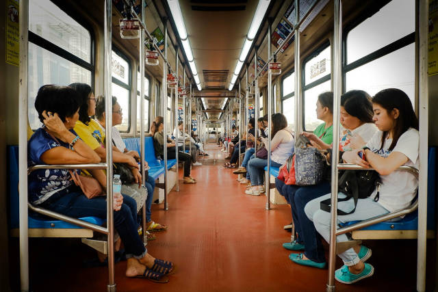One morning inside the LRT Train after rush hour