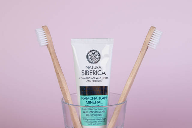 Bamboo toothbrushes with toothpaste