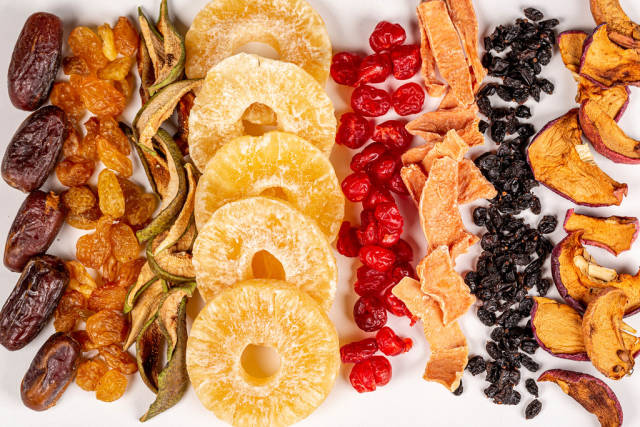 Dried fruits, dried pumpkin and dried cherries with barberry, top view