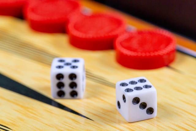 Backgammon game. Game dice lie on the backgammon board against the background of checkers