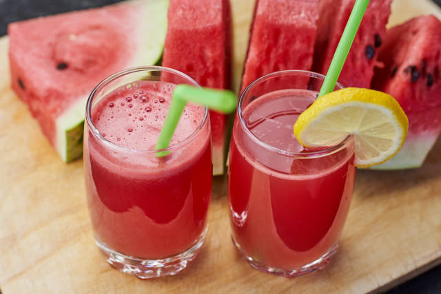 Two glasses of watermelon cooler drink