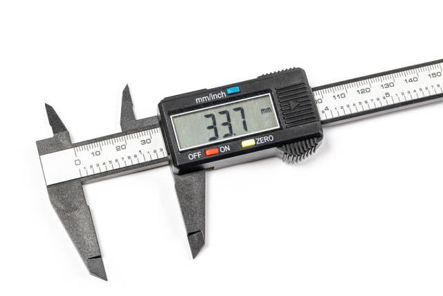 Digital electronic vernier caliper, close up