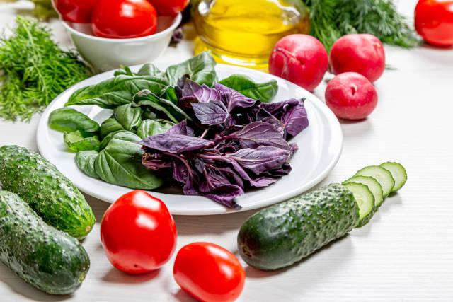 Ingredients for fresh vegetarian salad