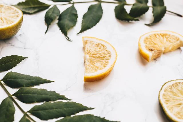 Nahaufnahme einer saftigen Zitronenscheibe. Zitronen und Blätter im Hintergrund