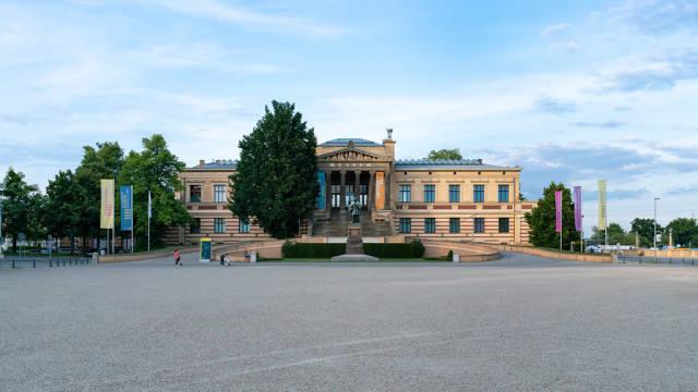 Evening view of historic building of the German art museum in Schwerin