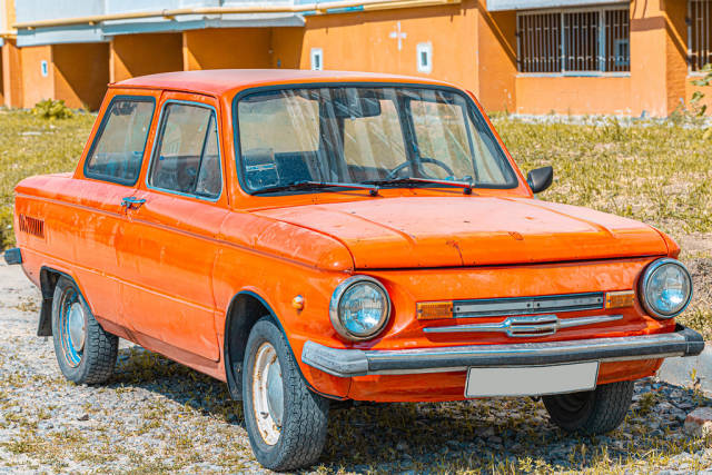 Old cars ZAZ-968M orange color