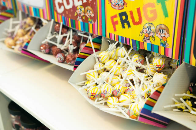 Lollypop boxes in a candy store