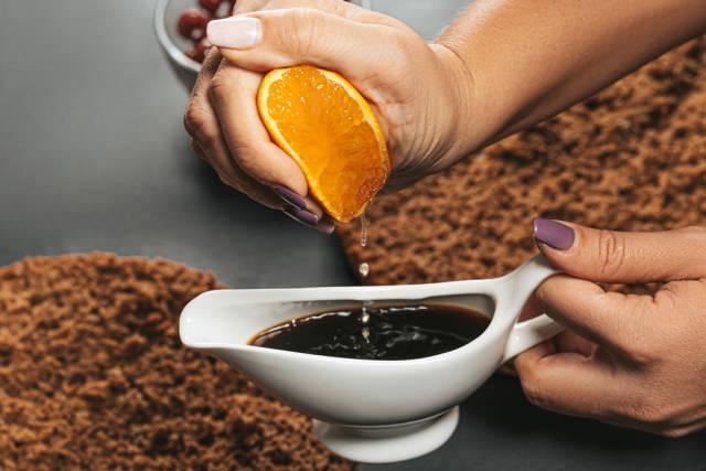 Coffee with orange juice - impregnation for cake closeup