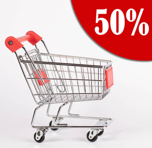 50% discount text with shopping cart