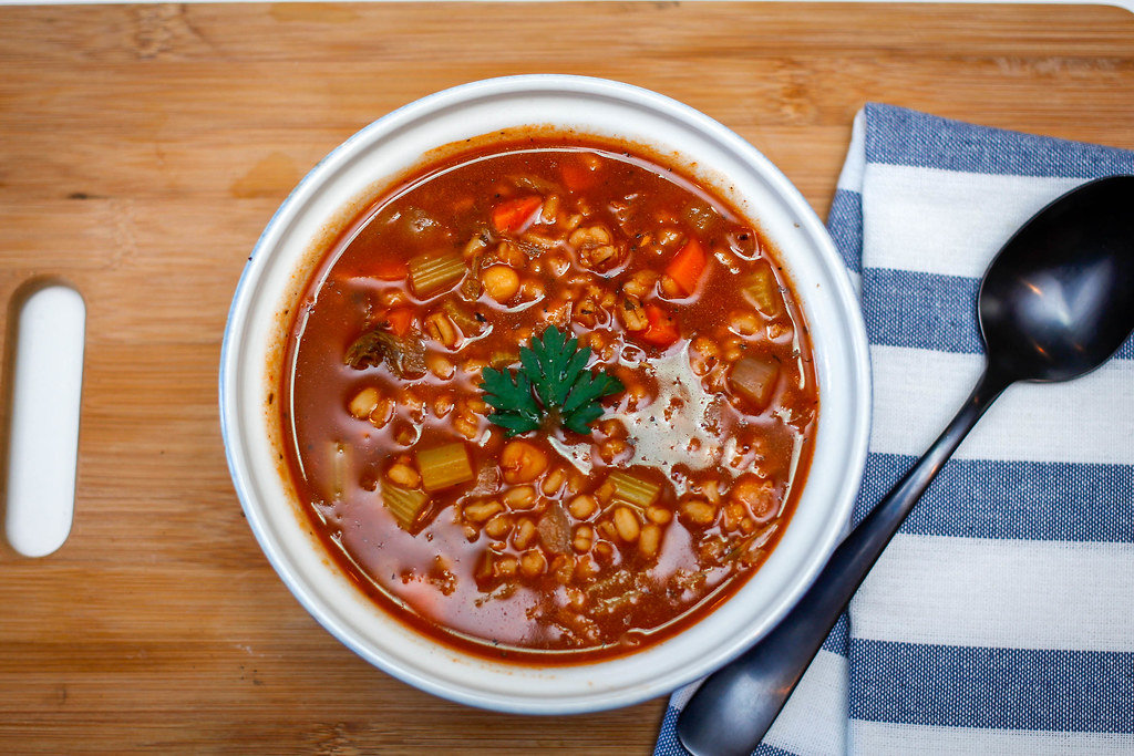 Barley Soup with Vegetables Top View