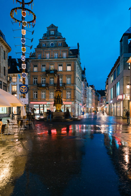 Historic center of Constance city at rainy evening
