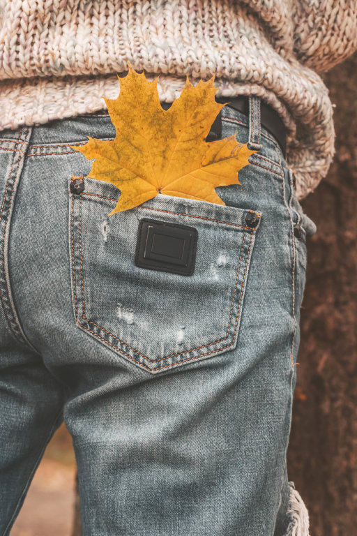 Maple leaf in the pocket of womens jeans