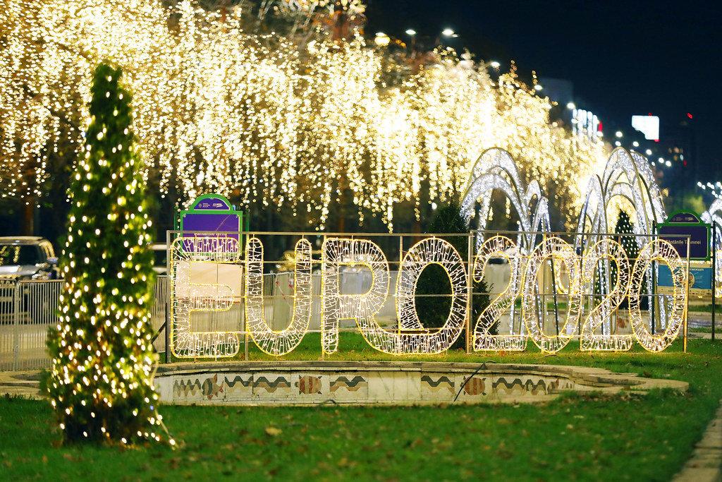 Euro 2020 street lights in Bucharest