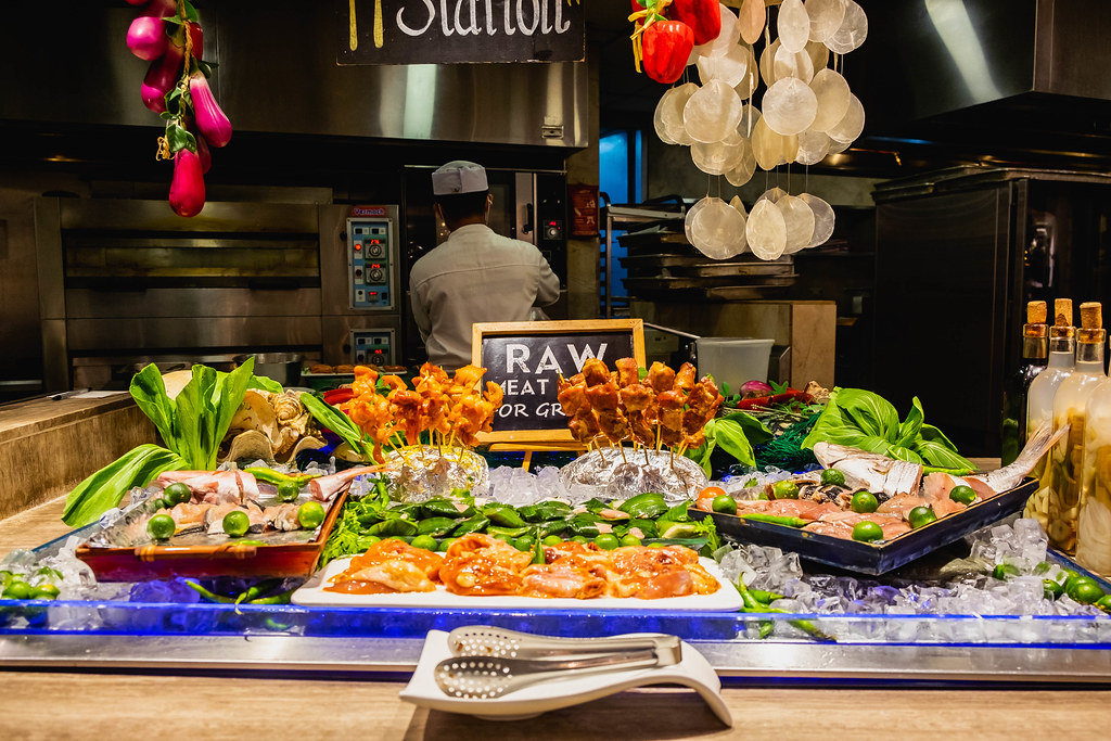 Raw meat for grilling stand on a buffet restaurant