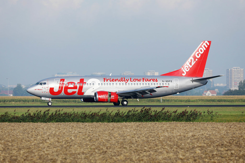 Jet2 airplane taxiing at Amsterdam Airport