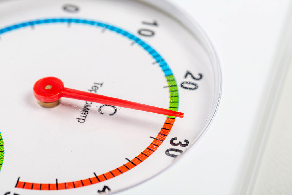 Home thermometer on white background