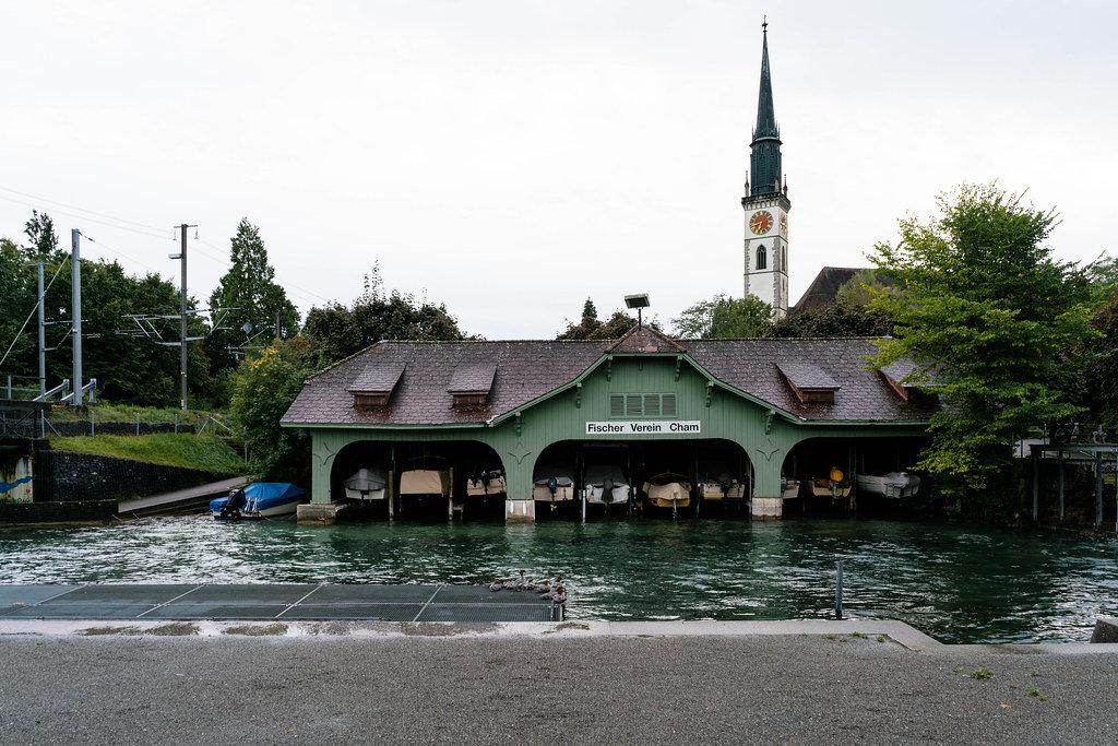 Boat parking garage of fishing club in Cham, Switzerland
