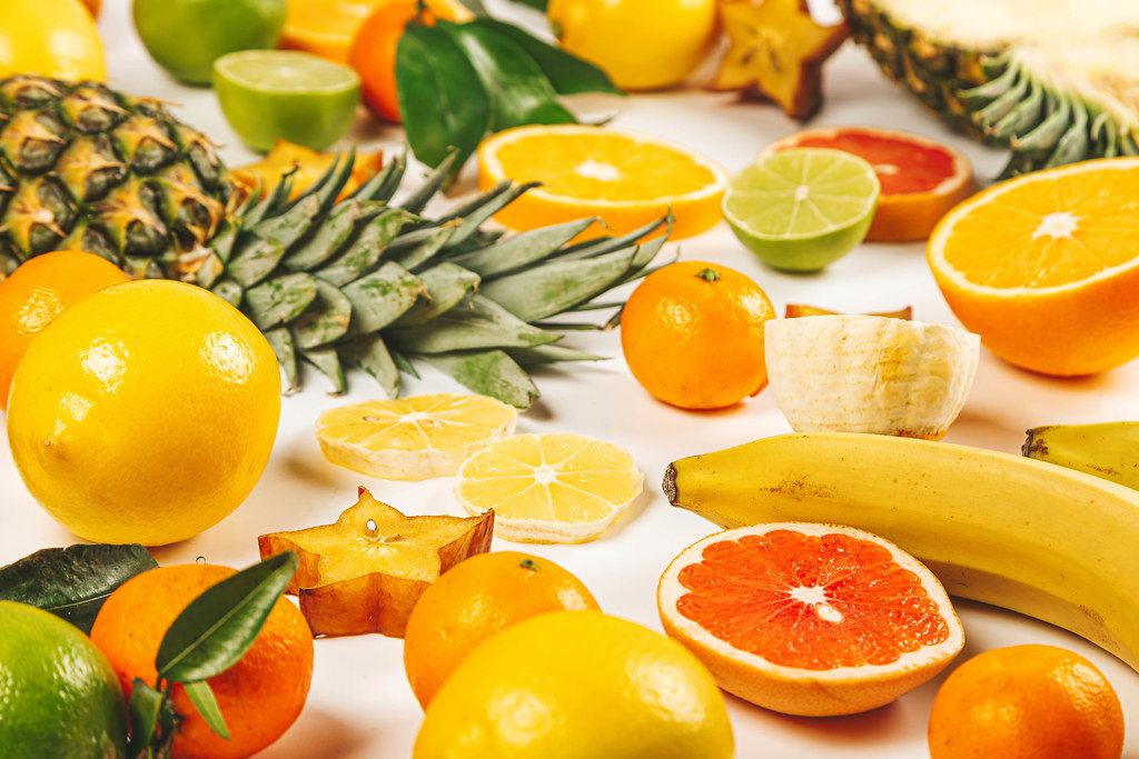 Summer background with ripe exotic fruits