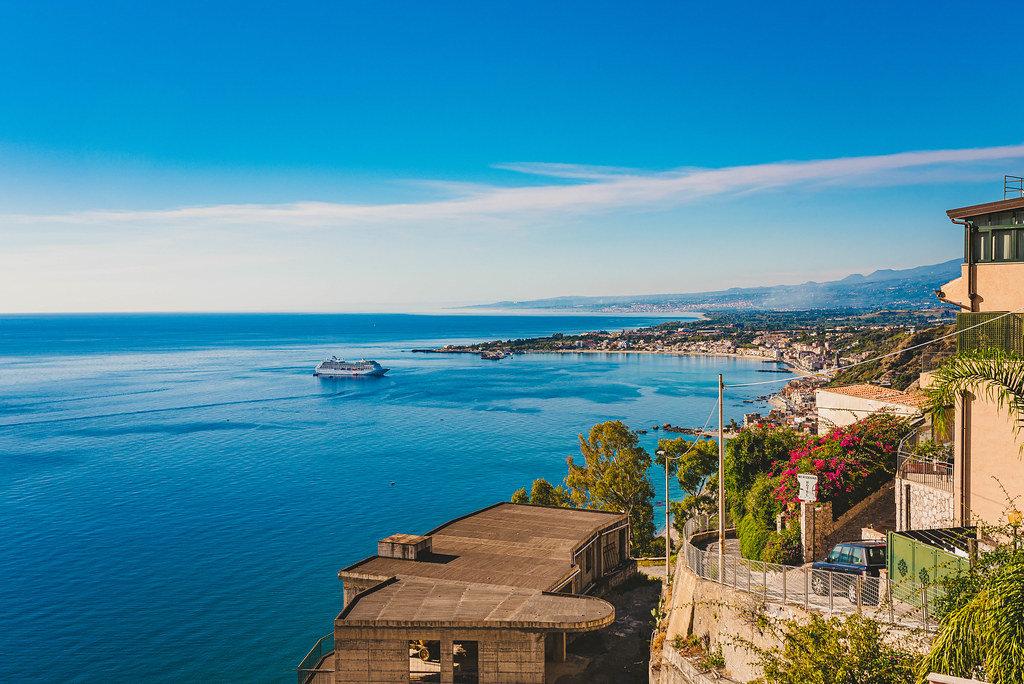 Landscape Of Mount Etna, Taormina And Mediterranean Sea