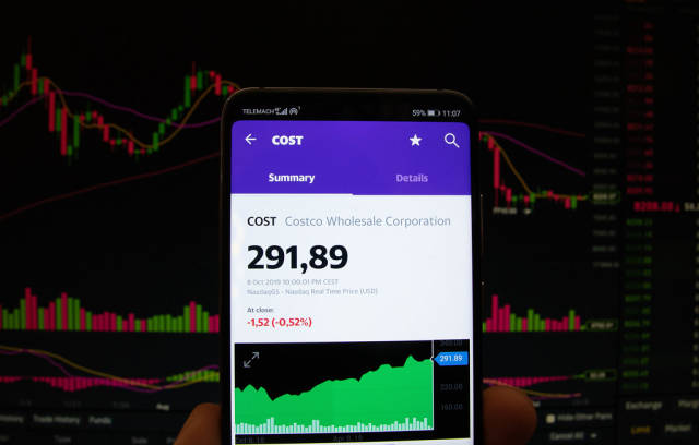 A smartphone displays the Costco Wholesale Corporation market value