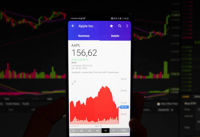 A smartphone displays the Apple market value
