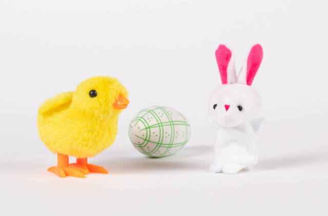 Small chicken and rabbit with Easter egg