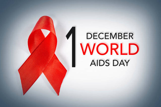 Aids awareness sign red ribbon. World Aids Day concept, 1 December, logo HIV symbol
