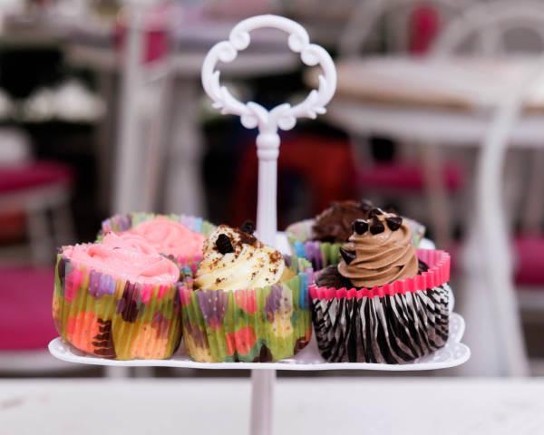 Bokeh shot of cupcakes displayed