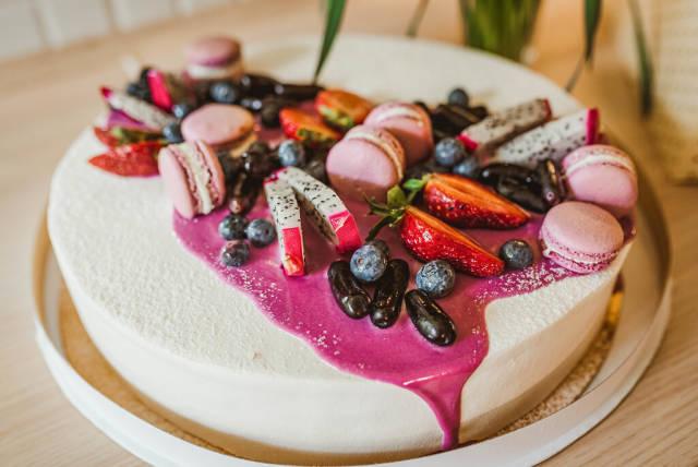 Yogurth Cake With Berries, Jelly Beans, Papaya, Macaroons
