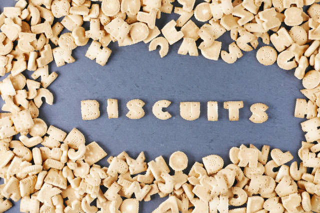 Alphabet letters biscuits background