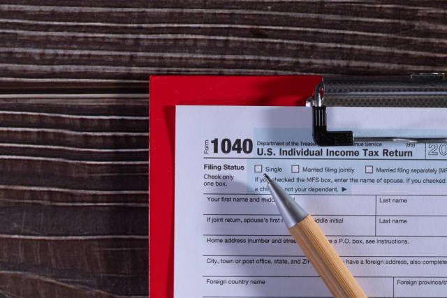A printed IRS 1040 tax form