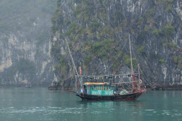 Wooden Fish Boat at Sea