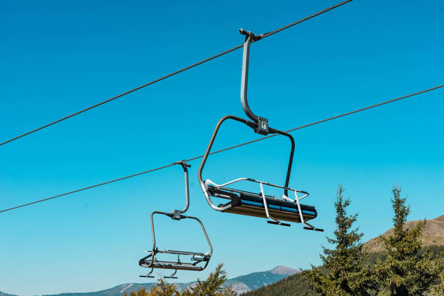 Chairlifts Against the Blue Sky at the Old Mountain, Serbia