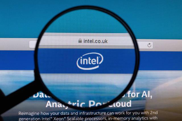 Intel logo under magnifying glass