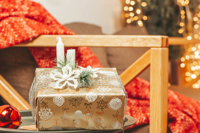 Wrapped gift box for christmas holiday