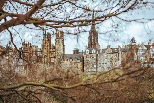 View of Edinburgh, Scotland in moody weather.
