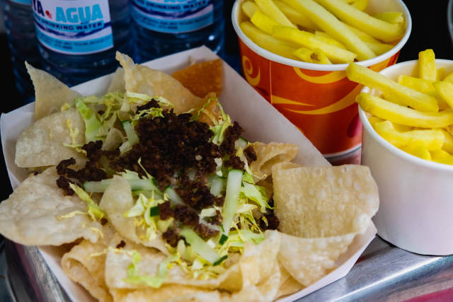 Fried nachos with french fries on the side