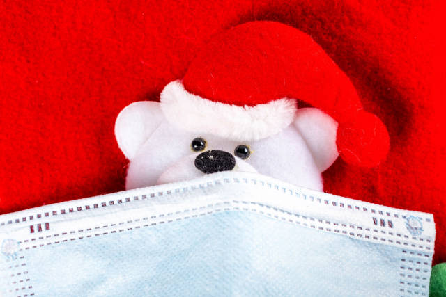 Close-up, mask on the face of a toy bear in a Santa hat