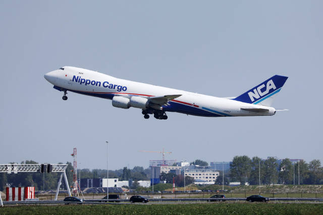 Nippon Cargo Airlines B747 taking off from Amsterdam Airport