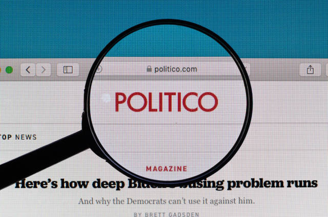 Politico logo under magnifying glass