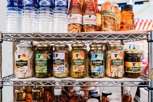 Atchara appetizers on steel shelf