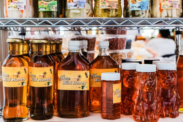 Pure wild honey bottled for consumption