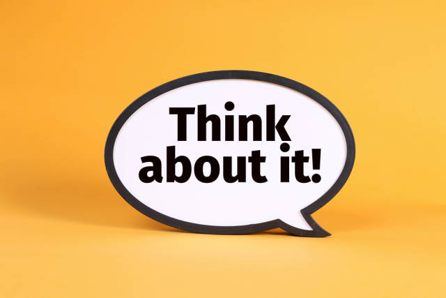 Think cloud with Think about it! text